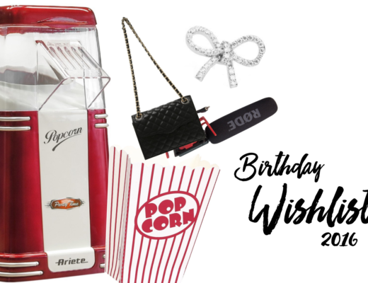 Collage einer Birthday Wishlist mit Popcaornmaschine, Popcorntüte, Mikrofon, Tasche, Ohrring, Birthday