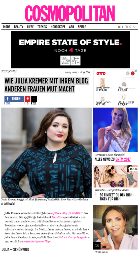 Cosmopolitain Plus Size Model Blog Hamburg Deutschland Interview
