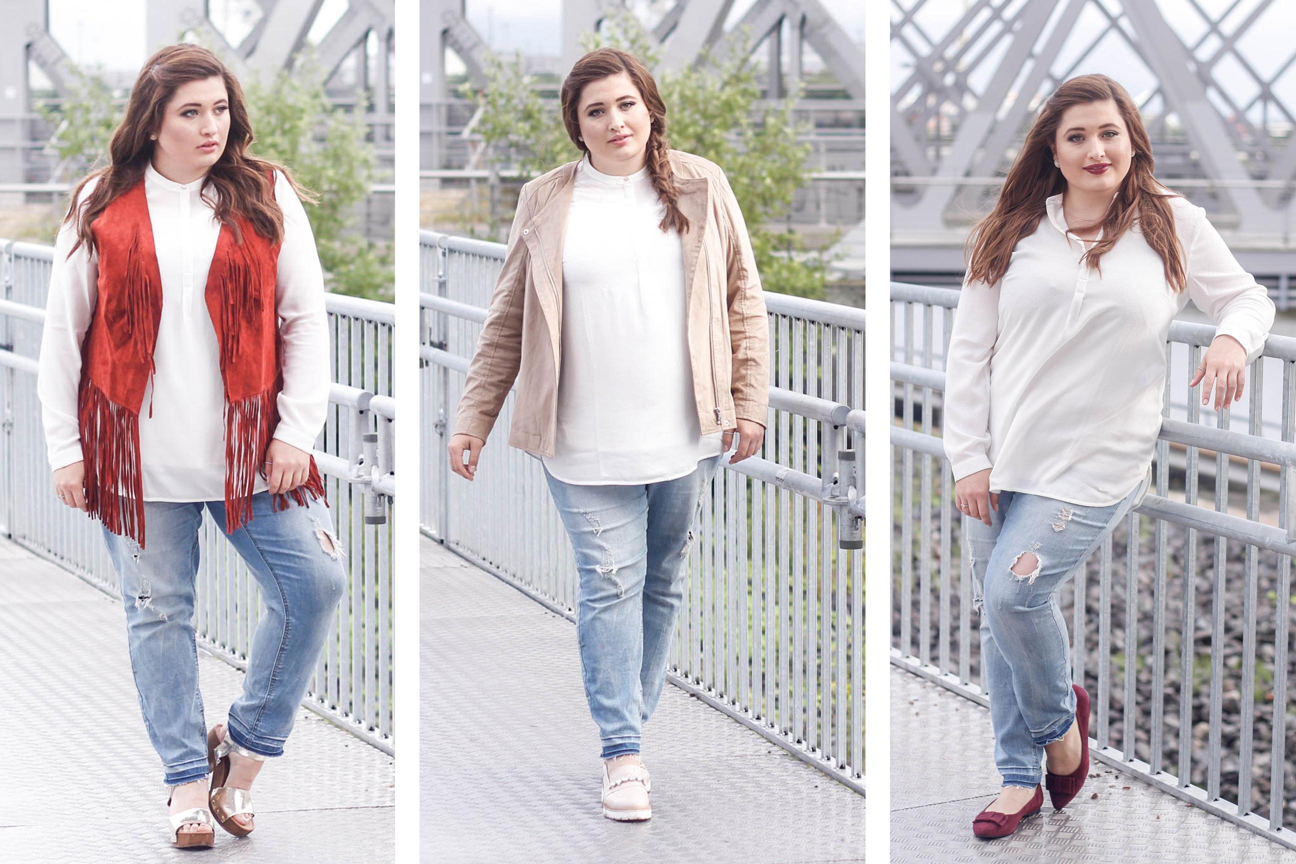 Plus Size Fashion, helle destroyed Jeans, weißes Shirt. Kombinationsmöglichkeiten.