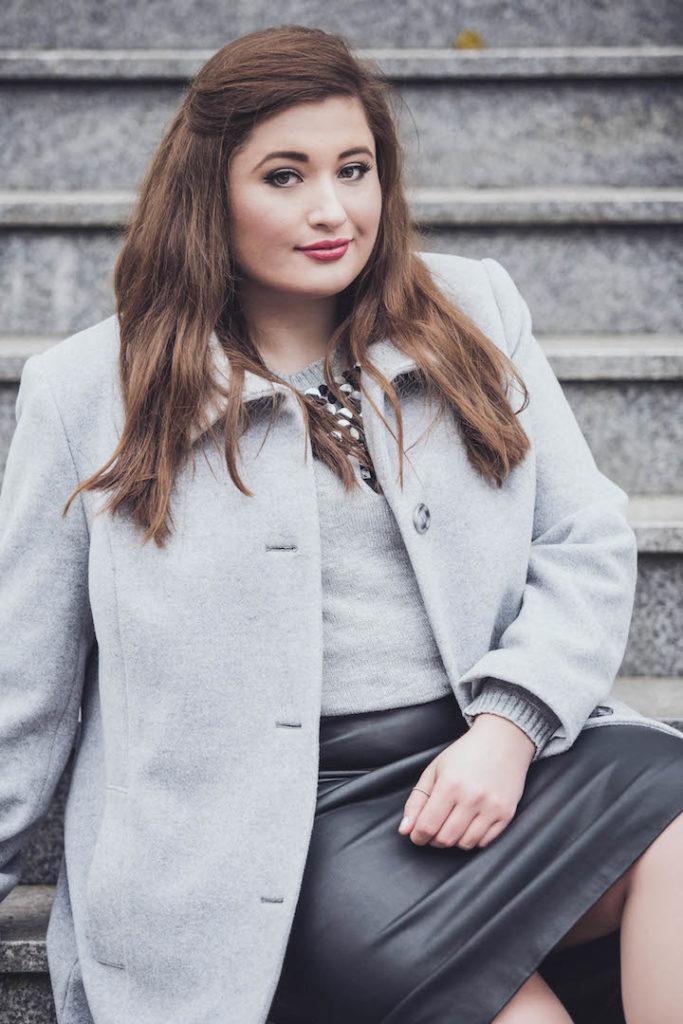 schoenwild lederrock plussize, grauer plus size mantel