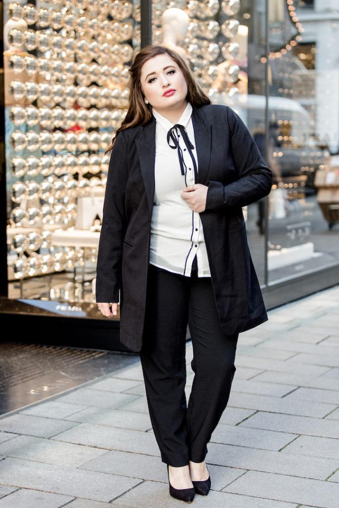 Plussize Business Outfit Black white SchönWild Große Größe Outfit Inspiration für das Büro