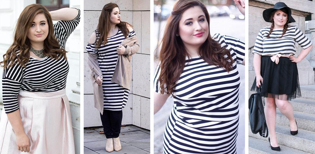 PLUS-size-fashion-blogger-hamburg-germany-streifenshirt-kombinieren-drei-outfit-inspirationen-parisian-chick-schwarz-weiß-gestreift-shirt-kombination